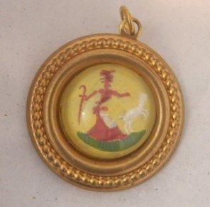 Reverse Painted on Glass Little Bo Peep Charm