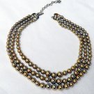 Monet Vintage 3 Strand Gold Tone Steel Beads