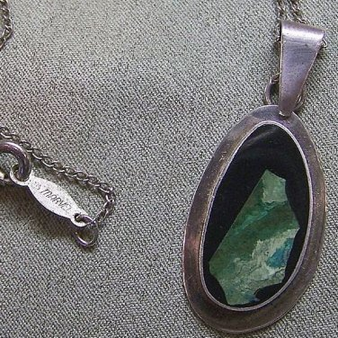 Vintage Sterling Silver Pendant Onyx and Eilat Israel