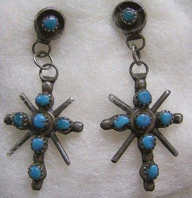 Vintage Zuni Sterling Silver &Turquoise Dangle Earrings