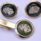 Vintage Reverse Painted Poker Cuff Links & Tie Bar