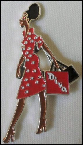 Red/White (Delta colors) Diva Lady Lapel Pin