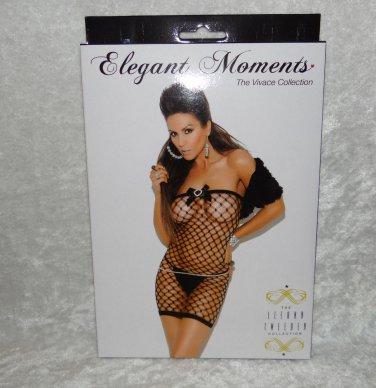 Black Fish Net Mini Chemise DressOne Size 90-165 lbs Elegant Moments