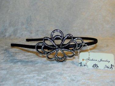 Rhinestone Black Flower Headband Tiara Weddings Girls Birthday Flower Girl Dance