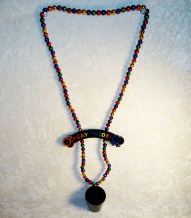 Rainbow Necklace Mardi Gras Party Shot Glass Beads Gay Lesbian Pride Parade