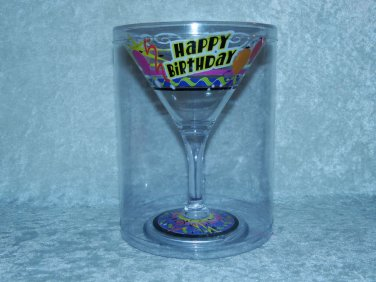 Happy Birthday Martini Margarita Plastic Glass Gift Decoration