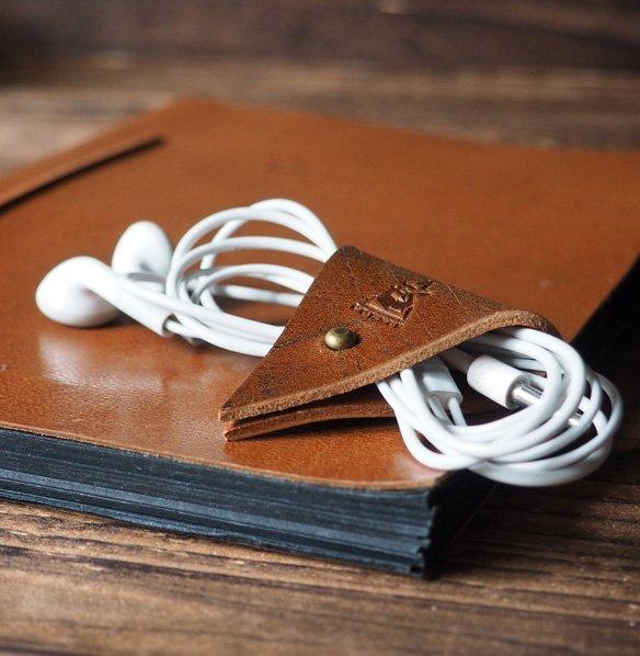 Leather Cord Holder-handmade,Earbud Cable Organizer,Earphone,Headphone,Minimalist#Brown