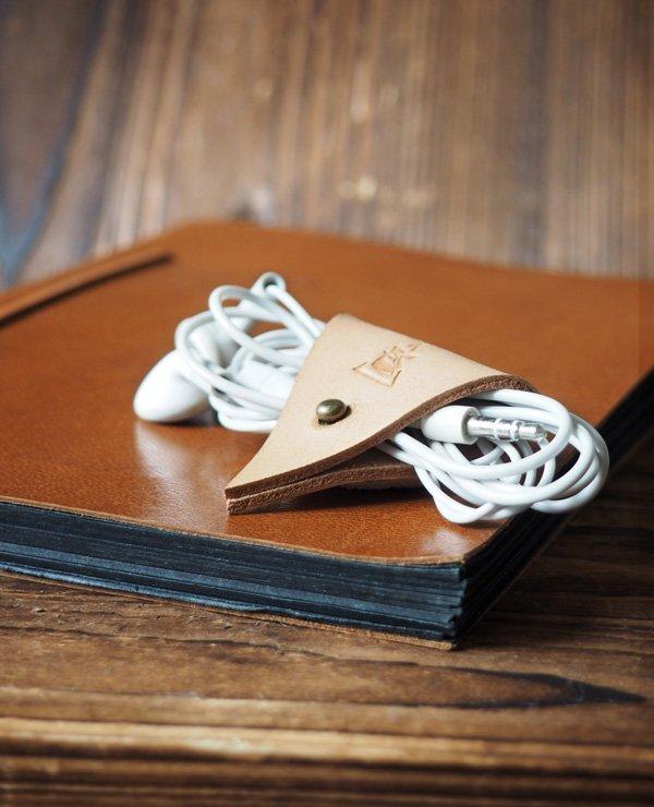 Leather Cord Holder-handmade,Earbud Cable Organizer,Earphone,Headphone,Minimalist#Nude