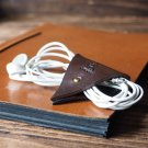 Leather Cord Holder-handmade,Earbud Cable Organizer,Earphone,Minimalist#Dark Brown