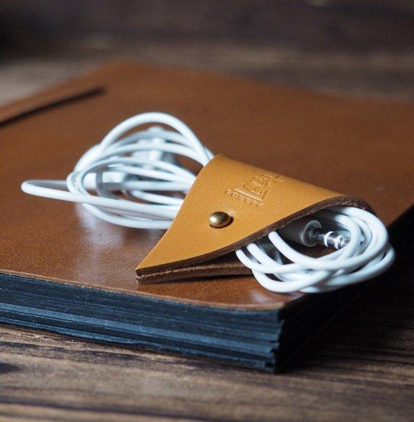 Leather Cord Holder-handmade,Earbud Cable Organizer,Earphone,Minimalist#Light Brown