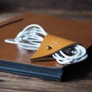 Leather Cord Holder-handmade,Earbud Cable Organizer,Earphone,Minimalist#Light Brown