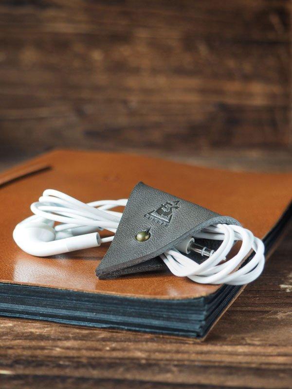 Leather Cord Holder-handmade,Earbud Cable Organizer,Earphone,Headphone,Minimalist#Gray