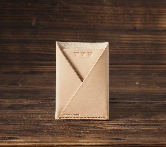 Leather Minimalist Slim Folded Card Wallet Card Sleeve, credit card holder #Natural Nude