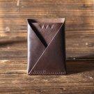 Leather Minimalist Slim Folded Card Wallet-card holder, Card Sleeve, credit card holder #Brown