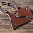 Engraved Couples Leather Keychain Set - custom handmade, personalized name, key ring #Brown
