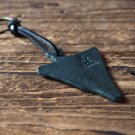 Leather Triangle Keychain - key fob handmade, keyring, personalized #Black