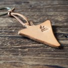 Leather Triangle Keychain - key fob handmade, keyring, personalized #Light Brown