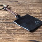 Leather Square Keychain - key fob handmade, keyring, personalized #Black