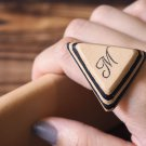 Initial Leather Ring - Name, Handmade Triangle, Custom initial, monogram #Black