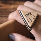 Joy Leather Ring - Adjustable, Handmade Triangle #Black