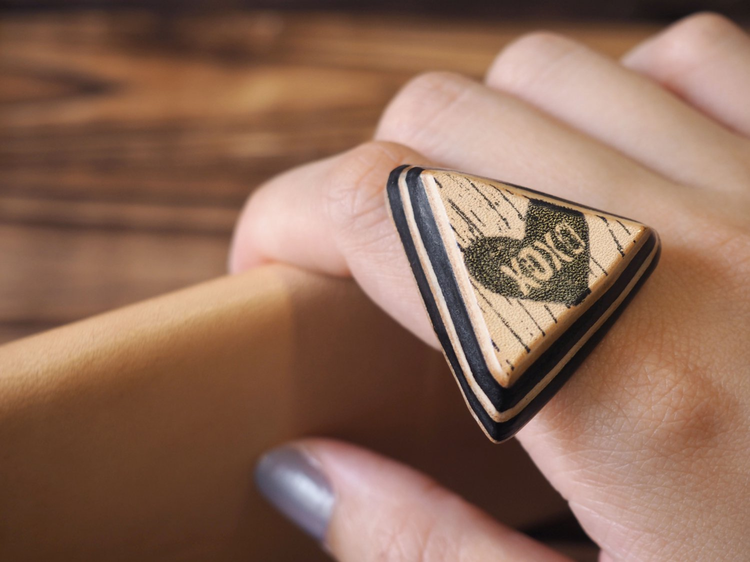 Handmade Leather XOXO Rings Hugs and Kisses Ring Triangle Funny gifts Personalized gifts #Black