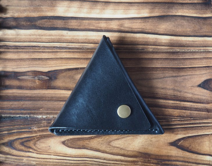 Handmade Leather Coin Purse Triangle Coin holder Designer wallets Black purse Coin pouch #Black