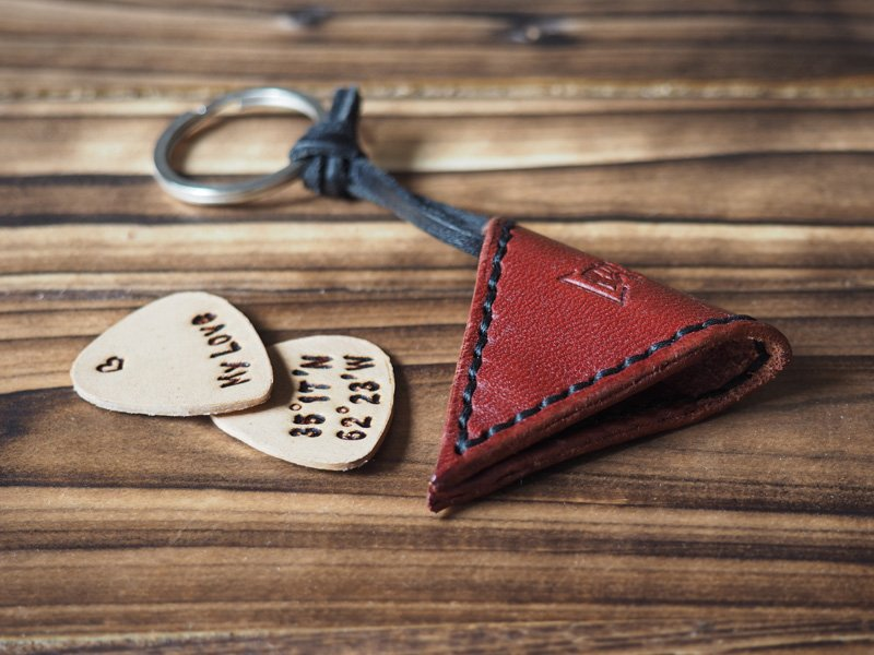 Handmade Leather Guitar Pick Holder Guitar Accessories Personalized gifts Gifts for men #Dark Red