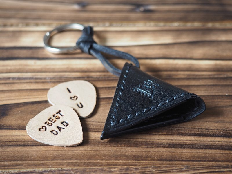 Handmade Leather Guitar Pick Holder Guitar Accessories Personalized gifts Gifts for men #Black