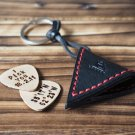 Handmade Leather Guitar Pick Holder Guitar Accessories Personalized gifts #Black with Red thread