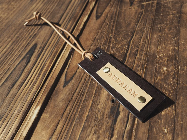 Handmade Leather Luggage tags Travel Accessories Personalized gifts Name tags Key tags #Dark Brown