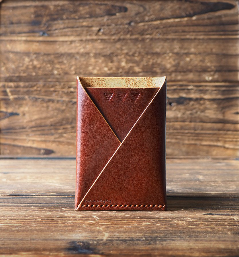 Leather Minimalist Slim Folded Card Wallet Card Sleeve, credit card holder #Whiskey Brown