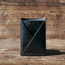 Leather Minimalist Slim Folded Card Wallet-card holder, Card Sleeve, credit card holder #Black