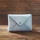 Handmade Leather Business card holder Credit card holder Slim Card wallet coin purse Wax #Blue