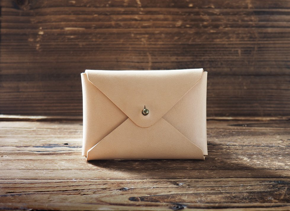 Handmade Leather Business card holder Credit card holder Slim Card wallet coin purse #Natural Nude