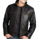 Mens Black Leather Jacket with Contrast Stitching, Fashion Biker Leather Jacket
