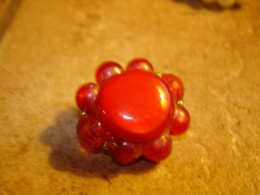 Large button with red beads and beautiful metal back