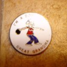 I am a bowling great grandma all metal brooch pin badge.