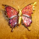 Gold metal and cloisonne button in shape of butterfly.