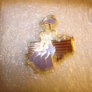 Victorian lady sitting on bench all metal pin badge.
