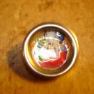 Lovely silver metal button with teddy bear