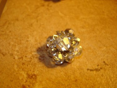 Vintage silver metal button with white glass beads.