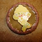 Large wood button with little lamb girl.