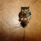 Vintage cloisane metal pin in shape of owl.