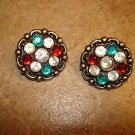 Set of 2 Christmas buttons with red, green and white rhinestones.