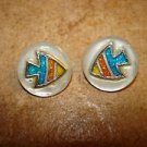 Set of 2 mother of pearl buttons with colorful fish.