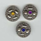 Lot of three (3) silver metal buttons with colorful rhinestones.