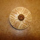Nicely carved faux bone button with rhinestone.