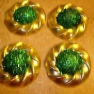 Lot of 4 large gold metal buttons with dome shape green glitters.