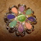 Extra large silver metal button in shape of flower with jade color stone.
