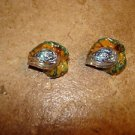 Lot of 2 autom leafs plastic and glass buttons.